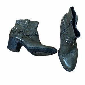 Born Slater Studded Harness Leather Ankle Booties